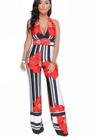 Women Print Block V Neck Halter Backless Jumpsuit