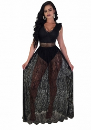 Womens Sexy Bardot Lace Evening Gown Fishtail Maxi Dress