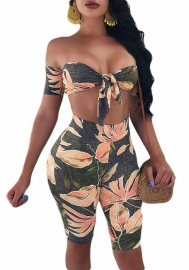Women Sexy Straps Floral Print Crop Top Short Pants Jumpsuits 2 Piece Outfits