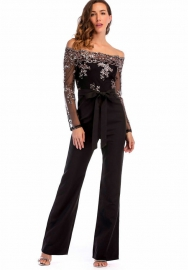 Women Sequins Chest Wrapped Top Lace Off Shoulder Ruffled Club Party Jumpsuits Playsuit