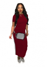 Women fashion striped red maxi dress