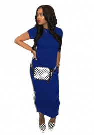 Women fashion striped Blue maxi dress