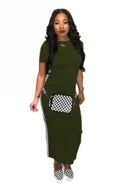 Women fashion striped green maxi dress