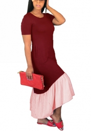 Women Short Sleeve Dress with Ruched Side Summer Dresses