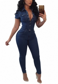 Womens Short Sleeve Button Front Baggy Denim Pants Jeans Jumpsuits Rompers
