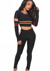 Women's Two Pieces Crop Top With Leggings Pants Knee Hole Outfit Set