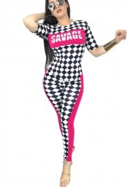 Womens Bodycon Checkered Race Short Capri Jumpsuits Rompers