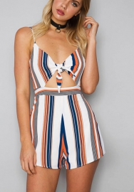 Womens  Bandage Print Holiday Short Romper Jumpsuit