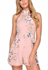 Women Fashion Floral Print Halter Sleeveless Strapless Overlay Romper Jumpsuit Short Pants Summer