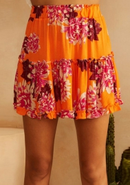 Women Pleated Skirts Floral Print