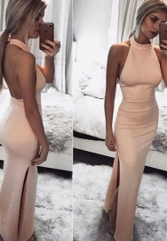 Women's Halter Neck Solid Backless Split Beach Party Maxi Dress