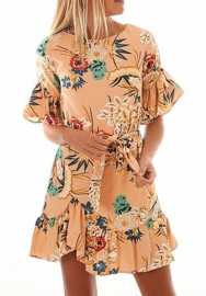 Women's Sexy Vintage Ruffle Boatneck Floral Print Half Sleeve Irregular Party Short Mini Dress