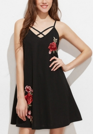 Women's Teen Velvet Strappy Front Lined Mini Fit & Flare Dress