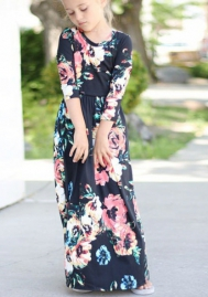 Girl Flared Floral Pocket Maxi Quarter Sleeves Long Holiday Dress