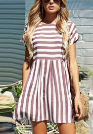 Women's Casual Striped Criss Cross Short Sleeve T Shirt Mini Dress
