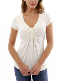 Women's Summer Casual Basic Short Sleeve Solid Criss Cross O Neck T-Shirt Tops