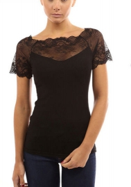 Women's Short Sleeve Blouse Lightweight Lace Tunic Sweatshirt Tops