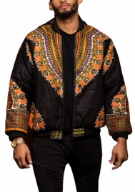 Men African Print Classic Zipper Biker Bomber Jacket Short Coat