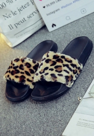 Womens Hair Slippers Slides Indoor Outdoor Flat Soles Soft Summer Shoes
