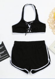 Women Lace Up Hoodies Crop Top with High Waist Shorts Set Tracksuit