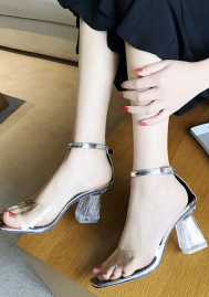 Womens See Through High Heels Lucite Sandals Shoes