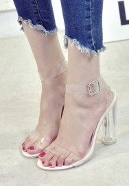 Women Lucite Square Heel Sandal - Cosplay, Party, Dressy - Ankle Strap Heel