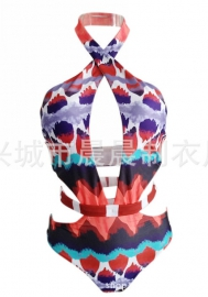 Womens One Piece Halter Floral Print Swimsuit Padding up Monokinis Swimsuit
