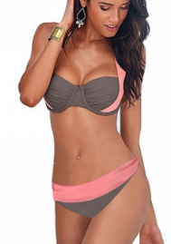 Women Halter Bandage Push-Up Padded Swimsuit Gradient Color