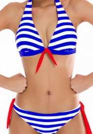Women Sexy Swimsuit Halter Striped Bandage Bikini Set Swimwear Bathing Suit Two Piece