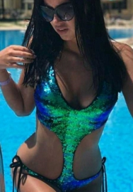 Women Bikini Set, Swimwear, Women Sequins Bandage Jumpsuit Push-up Padded Bra Bikini One Piece Swimwear