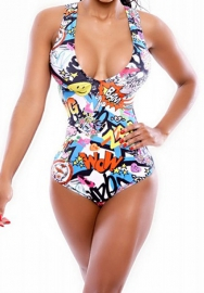 Women Summer Swimsuits Digital Print Stretch Sleeveless Sheath One Pieces