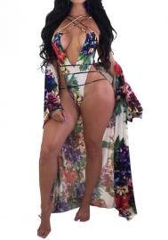 Womens Summer Print 2 Piece Cover Up Bikini Swimsuit