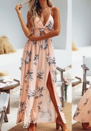 Women's Deep V Neck Spaghetti Strap Floral Print Sleeveless Backless High Split Maxi Dress