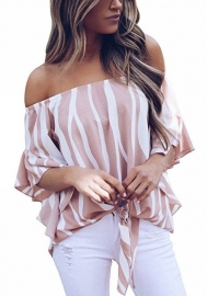 Women Blouse Striped Off Shoulder Elegant Shirts 3/4 Sleeve Tie Cuff Sexy Tee Tops