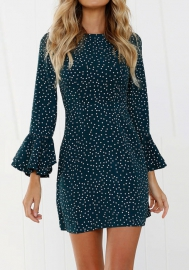 Deep V Neck Cut Out Front Polka Dot Ruffled Ruffle Hem Bell Trumpet Flared Flare Sleeve Mini Bodycon Dress
