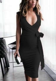 Women's Rayon V-Neck Crossover Bust Midi Evening Bandage Dress