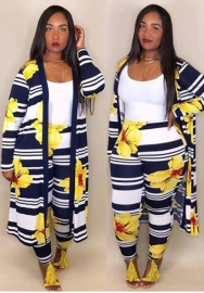 Women Floral Long Sleeve Maxi Coats and Floral Long Pants Pantsuits Clubwear