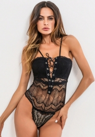 Women Floral Lace Teddy V Neck Bodysuit Babydoll