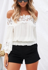 Womens Casual Lace Patchwork Long Sleeve Off Shoulder Chiffon Tops Blouse