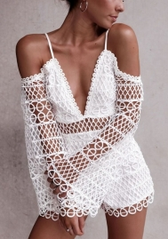 Women's Elegant V Neck Hollow Out Lace Jumpsuit Romper