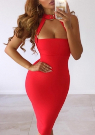 Women Halter Cut Out Bodycon Bandage Dress Sleveless Short Clubwear Party Dresses