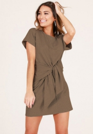Dress Ladies Short Casual Womens Pocket Summer Sleeve Evening Party Mini Dress