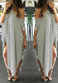 Womens Round Neck Striped Irregular Long Maxi Dress Kaftan Dress Cover up