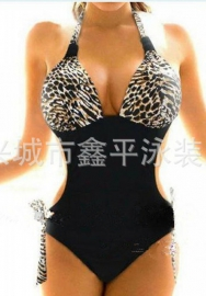 Women's Deep V Neck Backless Leopard Monokini One Piece High Cut Swimsuit