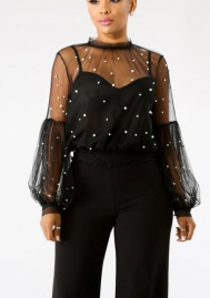 (Only Top)Women's Star Mesh See Through Mock Neck Long Sleeve Tops Tee