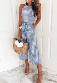 Women Striped Waist Belted Wide Leg Jumpsuit