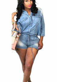 Womens Fashion Short Sleeve Denim Rompers Short Jumpsuits Jeans