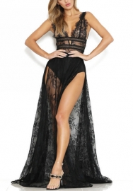 Women's See Through Lace Long Dress Short Sleeve Deep V-Neck Maxi Romper Jumpsuit Dress