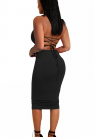 Women's Sexy Bodycon 2 Piece Strapless Lace up Slit Mini Tube Club Dress Set