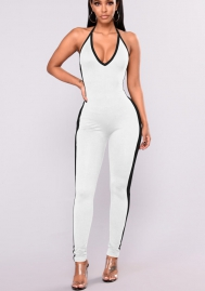 Women's Sexy Halter Neck Bodycon Jumpsuits Sleeveless Solid Wide Leg Long Pants Flare Rompers